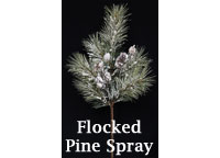 Flocked Pine Spray w/Cones, 24""