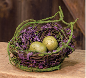 Mossy Bird Nest w/Eggs, 4""