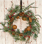 Red Berry Pine Wreath, 22""