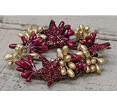 Burgundy & Gold Holiday Stars Pip  Ring, 1-1/2""