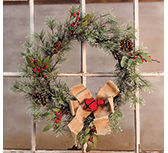 Brush Pine w/Red Bells Wreath