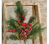 Woodland Cardinal Pine Spray, 24""