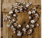 Country Cotton Ball Wreath, 22""