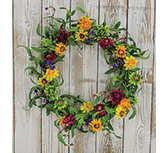 Mixed Prairie Daisy Wreath, 18""