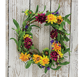 Mixed Prairie Daisy Wreath,