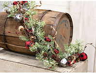 Buffalo Gingham Country Holiday Garland, 4ft