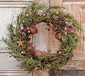 Rustic Holiday Pine Wreath, 18""