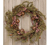 Rustic Holiday Pine Wreath, 22""