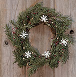 Pine & Snowflakes Wreath - 20""