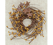 Old Gold Pip & Star Twig Wreath, 10""
