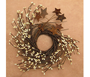 IvoryPip & Star Twig Wreath, 10""