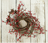 Red Pip & Star Twig Wreath, 10""