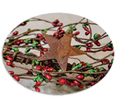Red/Green Pip & Star Garland, 40""
