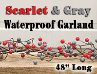Waterproof berry garland with scarlet and gray round berries is 48