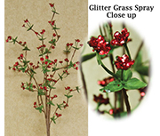 Red Glitter Grass Spray