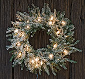 Frosted Lit Pine Wreath, 13""