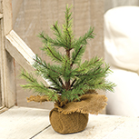 Feather Pinecone Tree w/Burlap Base 12""