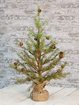 Feather Pinecone Tree w/Burlap Base 24""