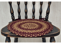 Burgundy/Tan Braided Chair Pad