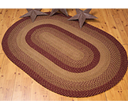 Tan & Red Oval Rug, 4 x 6