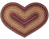 Burgundy/Tan Braided Heart Rug