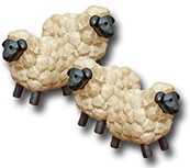 4/Set, Mini Folkart Sheep
