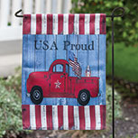 USA Proud Red Truck Garden Flag