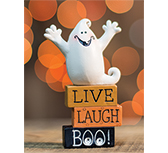 Live, Laugh, Boo Resin Block w/Ghost