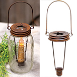 Rusty Jar Lid Taper Holder