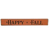 "Happy Fall Engraved Block - 12"" - Orange"