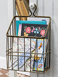 Rustic Gold Metal Wall Basket