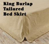 Burlap Natural Fringed King Bed Skirt