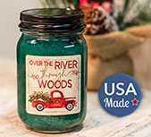 Balsam scented wax Mason Jar Candle with vintage red truck art label.
