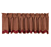 Burgundy Check Scalloped Layered Lined Valance