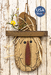 Hanging Lath Scarecrow Head w/Fall Flowers, 16\
