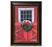 Framed Barn Door w/Wreath