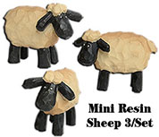 "3/set, 1"" Mini Resin Sheep"