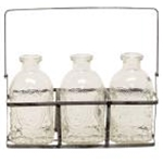 Metal Carrier With 3 Vintage Embossed Glass Bottles