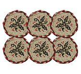 6/Set - Holly Berry Jute Stencil Coasters, 4\