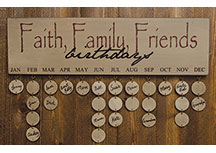 Faith Family Friends Birthday Calendar - Burgundy