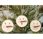 3/Set, Snowman Face Tree Tag