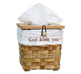 God Bless Tissue Basket, Honey