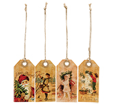 Vintage Joyful Christmas Tags - 4/set