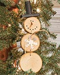 Wood Slice Snowman Ornament w/ Hat