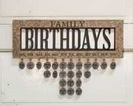 Framed Family Birthday Calendar