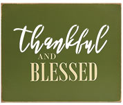 Thankful & Blessed Cutout Wood Sign