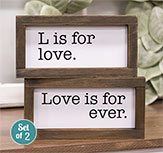 L Is For Love Framed Duo Signs