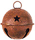 Rusty Jingle Bell w/Star Cutout, 60mm