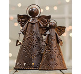 Rusty Angel Candle Holders, 2/Set