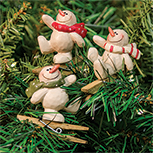3/Set, Snowman Clip Ornaments